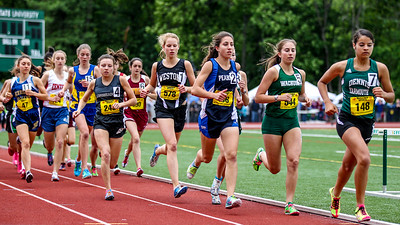 Jordan O'Dea of Dennis-Yarmouth leads the opening lap of the 2 mile at the 2012 Mass State Open