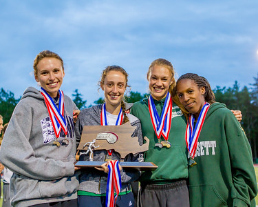 Laura Williamson, Meaghan Dowd, Jasmine Cook, and  Amy Collins of Wachusett combined to score 36 points and bring home the runner up trophy at the State Open.