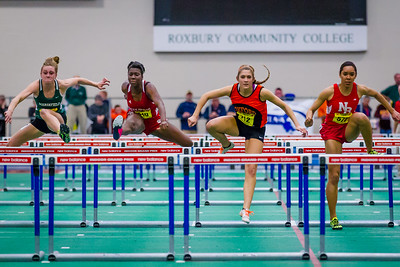 """Emily Dawidczyk (Oxford) took the 55m hurdles (8.29) and the long jump (17' 9.5"""") at the MIAA Indoor State Open Championship."""