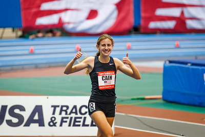 Mary Cain celebrates her new high school 2 mile record.