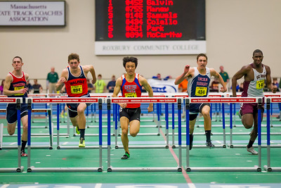 Jung Park (Newton South) took the 55m hurdles in 7.57 over Ben Colello and Connor McCarthy at the MIAA Indoor State Open Championship