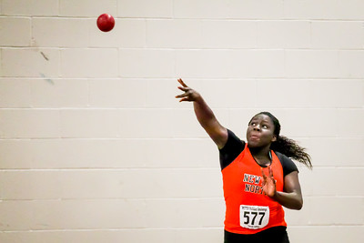 """Michela Smith sets a Holiday Challenge meet record with a 39' 4.25"""" toss."""