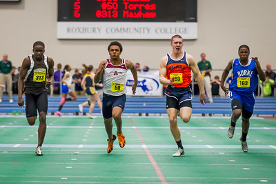 Walpole's PJ Hayes took the 55m dash  (6.47) over Alex Mayhew and sophomore Taj Amir Torres.