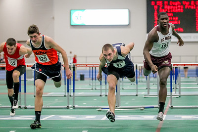 Dylan DeMoranville nips Jordan Samuels and Connor McCarthy in the Holiday Challenge 55m hurdles.