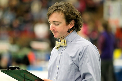 Indoor track announcer Steve Infacelli at the division 1 state championships.