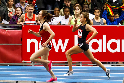 Galen Rupp cheers Mary Cain to a new High School 2 mile record at the New Balance Grand Prix.