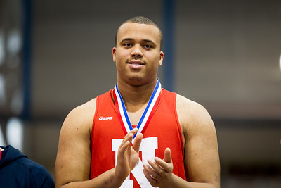 Eric Beckwith won the indoor MIAA State Open Championship with a toss of 59' 5.5""