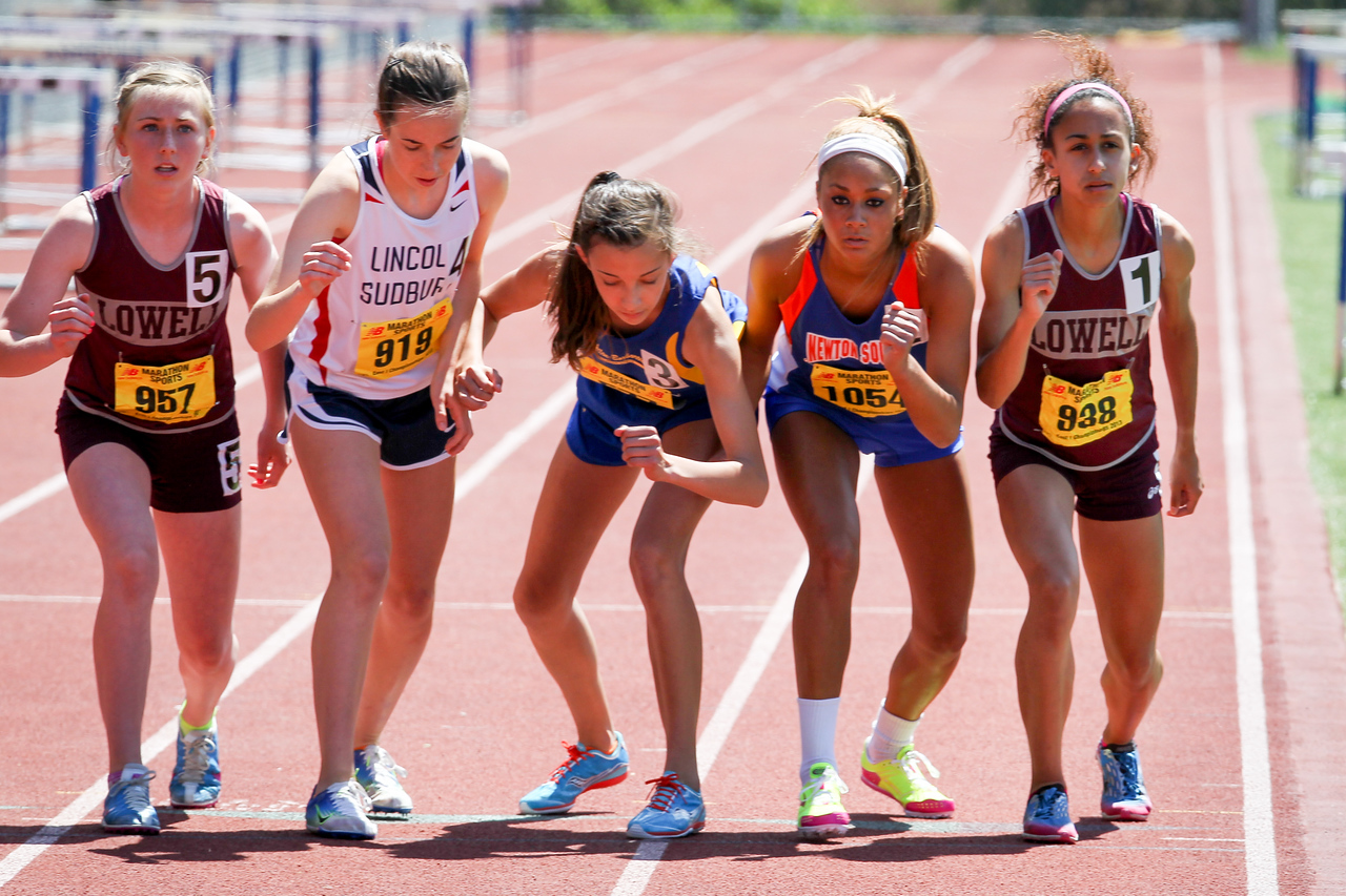 Kaley Richards, Sydney Clary, Sophie Brown, Kayla Burton, and Bryanna Allison toe the line in the MIAA D1 1 mile Championship.  Allison won in 5:09.57.