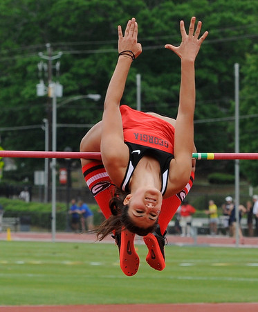Tatiana Gusin clears the high jump bar (Photo by John Kelley)
