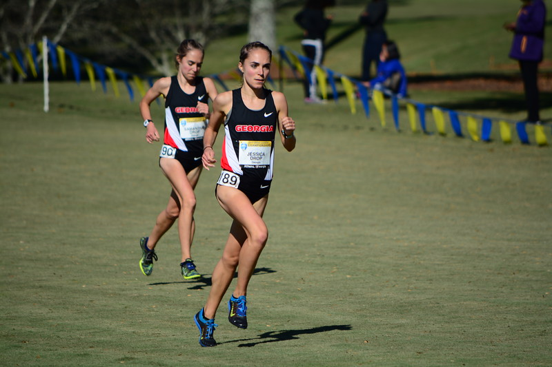 Georgia's Jessica Drop  and Sam Drop compete during the SEC Cross Country Championships at the UGA Golf Course in Athens, Ga. on Friday, Oct. 27, 2017.  (Photo by Caitlyn Tam/ Georgia Sports Communication)