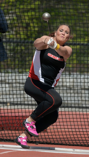 Georgia's Beatrice Llano throws the hammer during the Spec Towns Invitational track meet at the Spec Towns Track Facility on Friday, April 7, 2017 in Athens, GA (Photo by John Kelley/UGA)