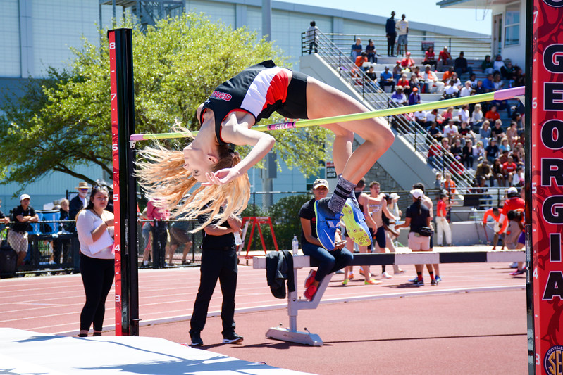 Mady Fagan competes in the high jump event. UGA women's track and field team (Photo from Georgia Sports Communication)