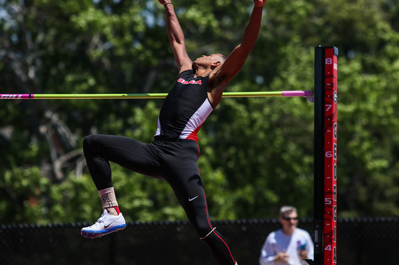 Georgia track and field team sophomore Keenon Laine competes in the high jump (Photo by Cory A. Cole/Georgia Sports Communication)