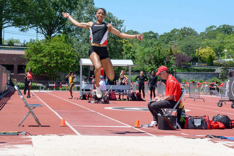 Georgia's Kendell Williams in the long jump at the 2017 Torrin Lawrence Memorial track meet on Saturday, May 6, 2017. (Photo by Caitlyn Tam/ Georgia Sports Communication)