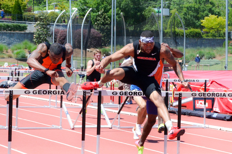 Georgia's Devon Williams competes in the 110-meter (Photo by Caitlyn Tam/Georgia Sports Communication)