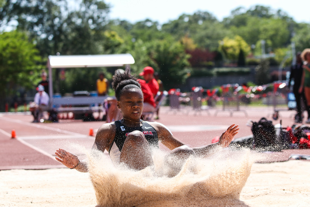 Georgia's Keturah Orji during the Torrin Lawrence Memorial at Spec Towns Track in Athens, Ga. on Saturday, May 6, 2017. (Photo by Cory A. Cole)