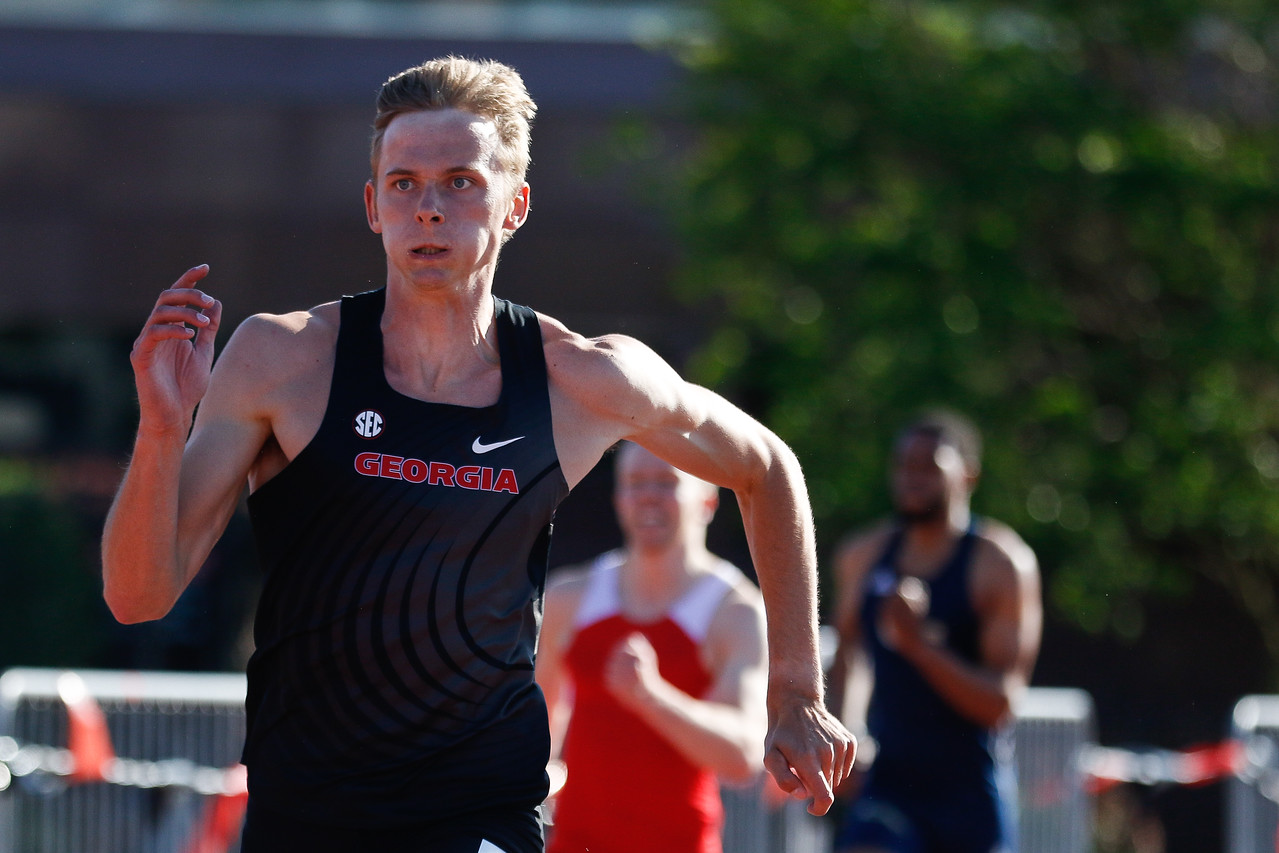 Georgia's Johannes Erm during the Torrin Lawrence Memorial track meet in Athens, Ga., on Friday, Apr. 26, 2019. (Photo by Kristin M. Bradshaw)