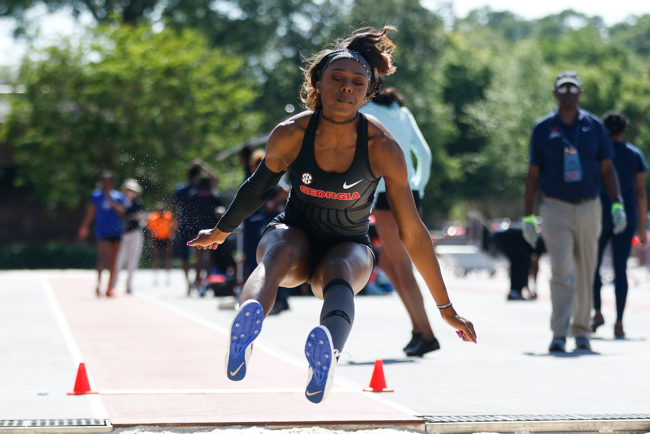 Georgia's Aliyah Whisby during the Torrin Lawrence Memorial track meet in Athens, Ga., on Friday, Apr. 26, 2019. (Photo by Kristin M. Bradshaw)