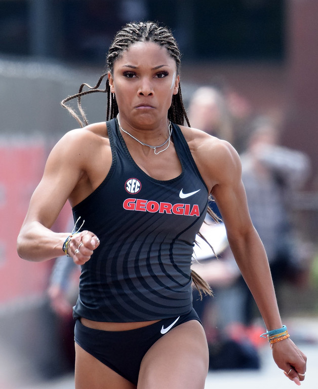 Georgia's Tara Davis during the Spec Towns Invitational at the Spec Towns Track in Athens, Ga., on Friday, April 6, 2018. (Photo by Steven Colquitt)