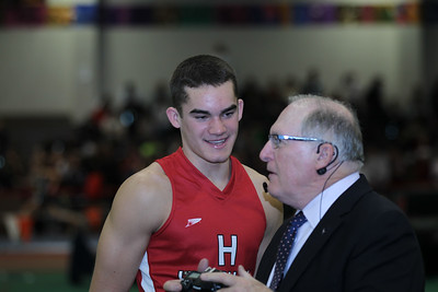 Andrew with Mass State Track official John Carroll after setting a MIAA All-State meet record 34.70 in the 300m dash