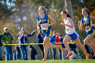 Margie Cullen (Needham) leads Natics Sarah Lagan at the Bay State Conference Championships