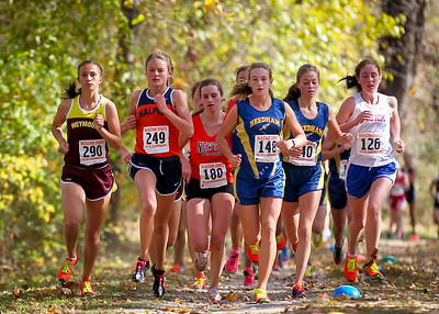 Margie Cullen (Needham) leads the early pack at the Bay State Conference Championships.