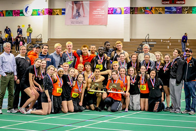 Newton North  boys and girls teams after each won 2012 Indoor State Open