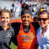 Kayla Prior, Carla Forbes, and Ali Hurwitz celebrate their 3xtriple jump state record at the 2012 D1 State Relays