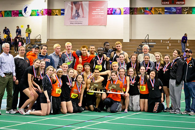 Newton North  boys and girls teams after each won 2012 Indoor D1 State Open
