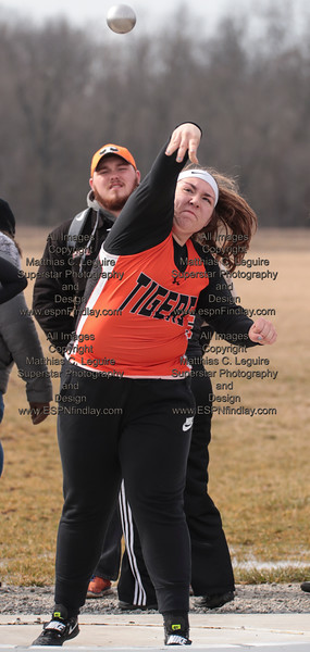 NB's Alexis Long steps and throws the shot put for the Tigers.