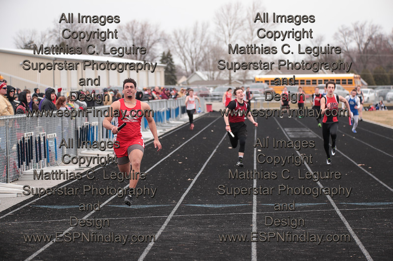 HL's Donovan Bickelhaupt leads the field down the final stretch of the boys 4x100 relay for a Chieftain victory.