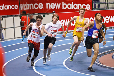 4x200m Youth Relay rounds the corner at the 2012 New Balance Indoor Grand Prix in Boston on February 4th.