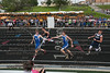 Riverdale and Carey's boys 4x800 relay teams were neck and neck at the first baton transfer.