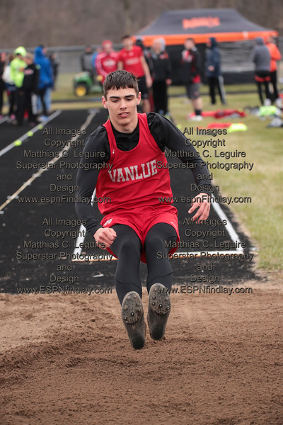 Vanlue's Xavier Temple lands in the long jump pit.