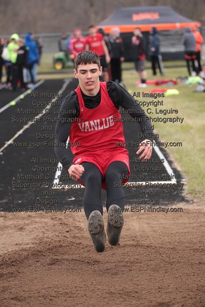 Vanlue's Xavier Temple lands in the long jump pit.