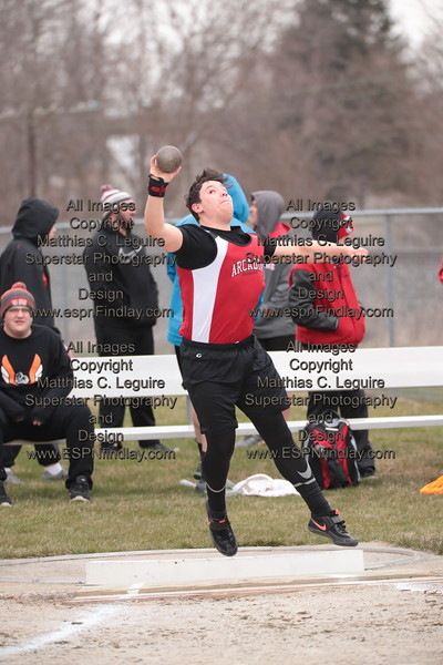 Arcadia's Dalton Mathias tosses the shot put for the Redskins.
