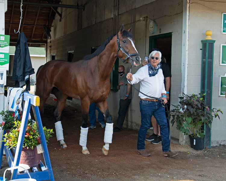 Bob Baffert walking with Authentic outside barn.<br /> The morning after Authentic wins the Kentucky Derby (G1) at Churchill Downs, Louisville, KY on September 5, 2020.