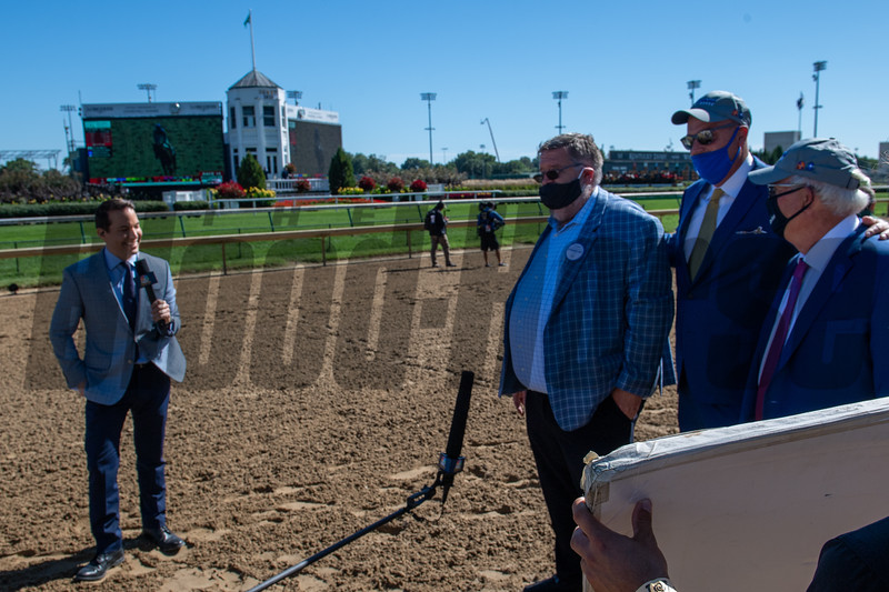 Dale Romans and Jason Loutsch are interviewed after Sittin On Go with Corey Lanerie wins Iroquois Stakes (G2) at Churchill Downs, Louisville, KY on September 5, 2020.