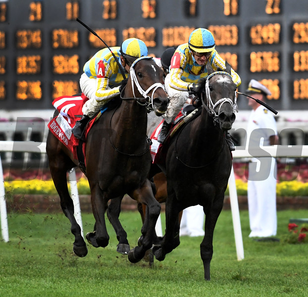 La Coronel ridden by Flavian Pratt, left duels to the win in the 33rd running of The Edgewood beating Dream Dancing with Julien Leparoux May 5, 2017 at Churchill Downs in Louisville, Kentucky.  Photo by Skip Dickstein