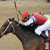 Moonshine Mullin, Calvin Borel up, wins the Alysheba Stakes, Churchill Downs, Louisville, KY 5/3/14, photo by Mathea Kelley;