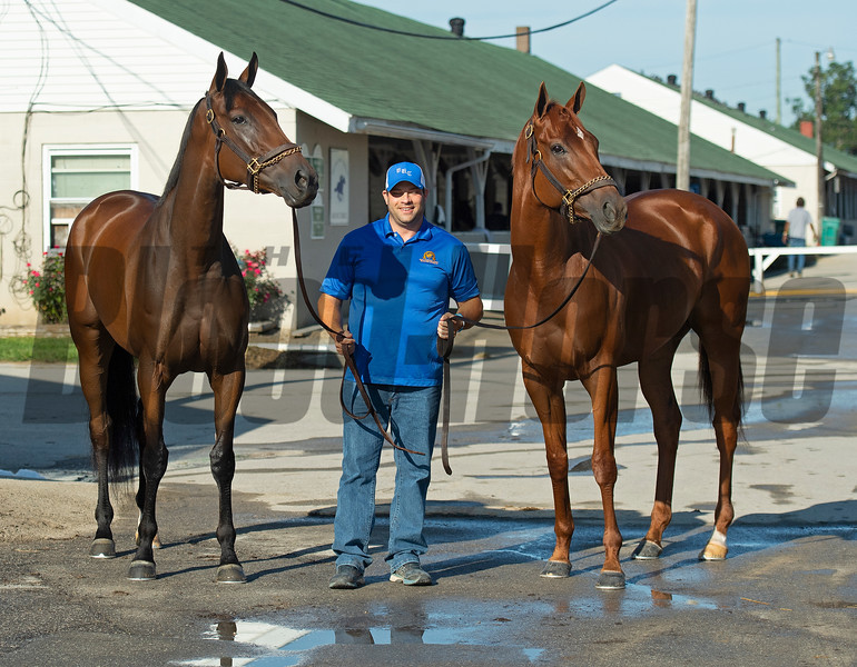 (L-R): Shedaresthedevil, Brad Cox, and Monomoy Girl Sunday, September 6, 2020 at Churchill Downs. Photo: Anne M. Eberhardt