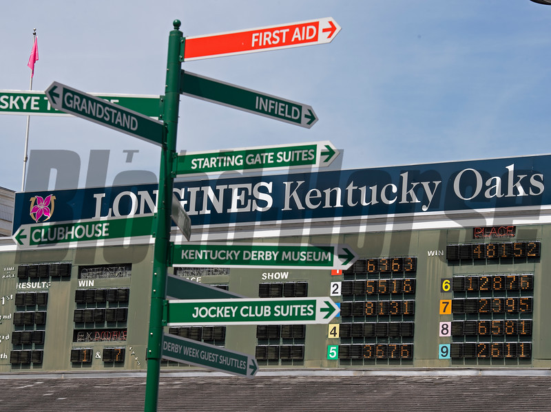 Signs for OaKS AND areas at Churchill. Scenes on Oaks day at Churchill Downs, Louisville, KY on September 3, 2020.