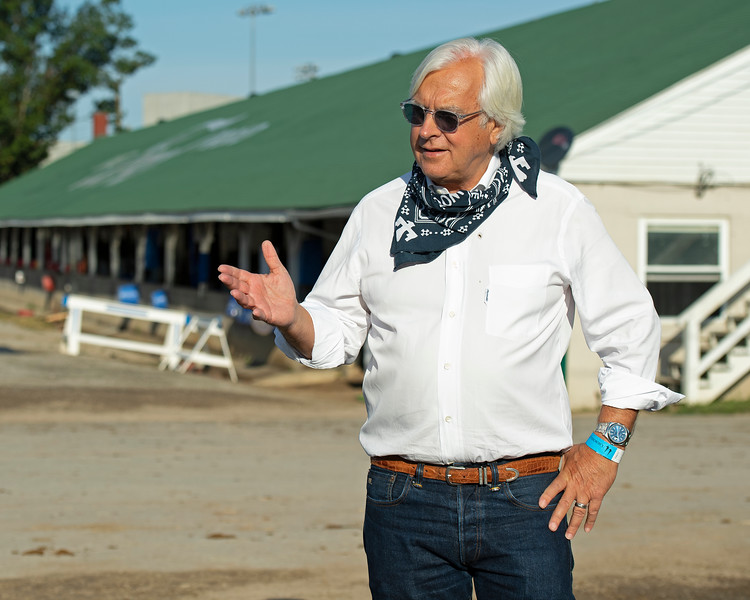 Bob Baffert talking with media outside barn.<br /> The morning after Authentic wins the Kentucky Derby (G1) at Churchill Downs, Louisville, KY on September 5, 2020.