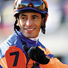 John Velasquez celebrated winning the Grey Goose Breeders' Cup Juvenile (G. I) atop Uncle Mo on November 6, 2010.