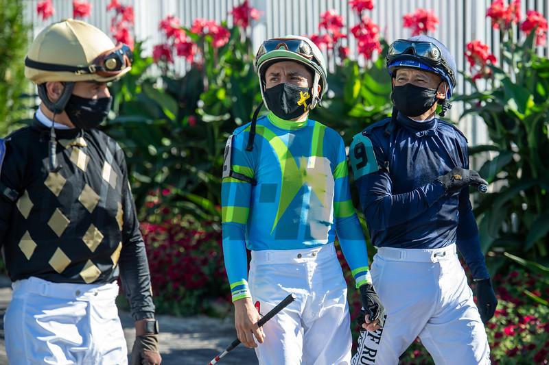 Jockeys before the  Derby City Distaff (G1) at Churchill Downs, Louisville, KY on September 5, 2020.