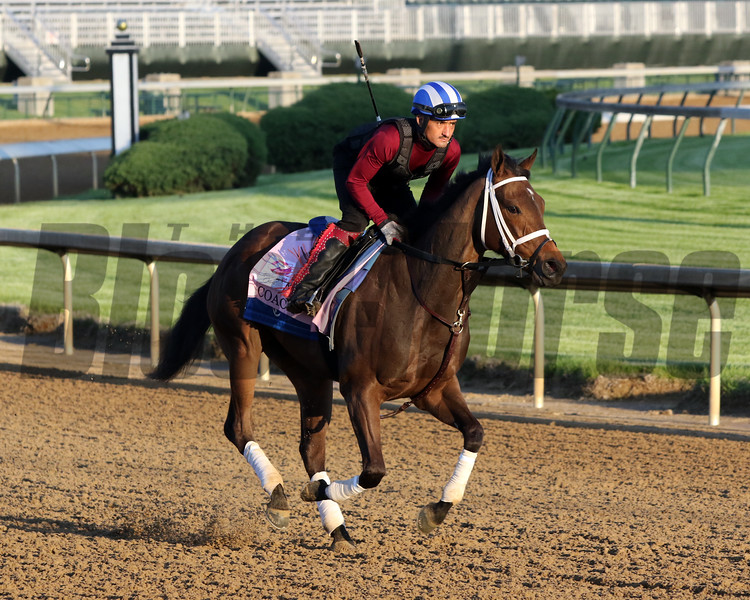 Coach on the track at Churchill Downs on April 27, 2021. Photo By: Chad B. Harmon
