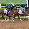 (L-R): Coach and Adventuring<br /> Kentucky Derby and Oaks horses, people and scenes at Churchill Downs in Louisville, Ky., on April 23, 2021.