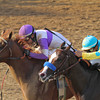 Mario Gutierrez and I'll Have Another pass Bodemeister.<br /> Photo by Crawford Ifland.