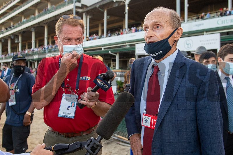 Barclay Tagg after Authentic with John Velazquez wins the Kentucky Derby (G1) at Churchill Downs, Louisville, KY on September 5, 2020.