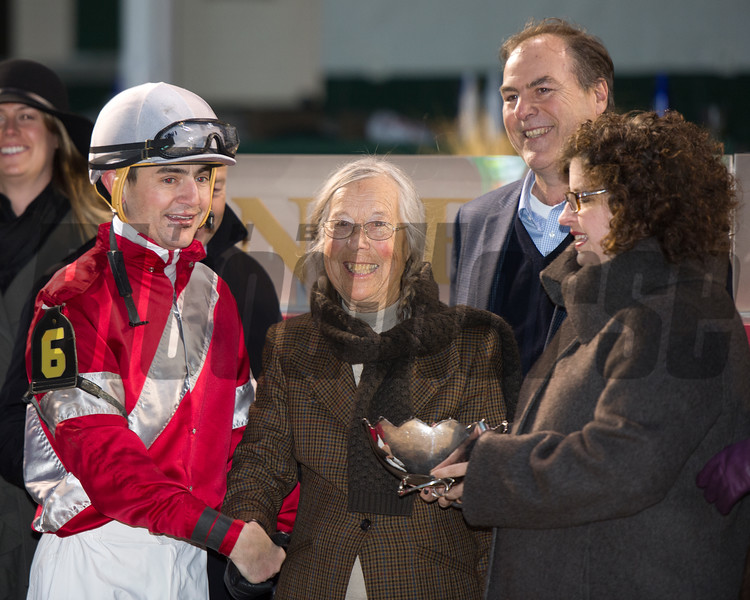 Caption: l-r, Hernandez, Janis Whitham, Clay Whitham, unknown presenter<br /> Linda with Brian Hernandez Jr. wins the Mrs. Revere (gr. II) for Whitham Thoroughbreds and Ian Wilkes on Nov. 25, 2016, at Churchill Downs.